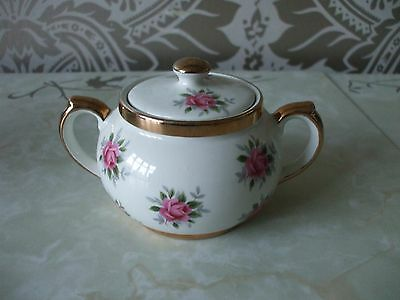 Vintage Retro Gibson Pottery Pink Roses Gold Sugar Bowl & Lid