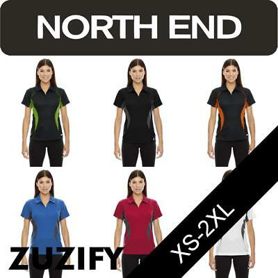 North End Ladies Zippered Performance Polo Shirt. 78657