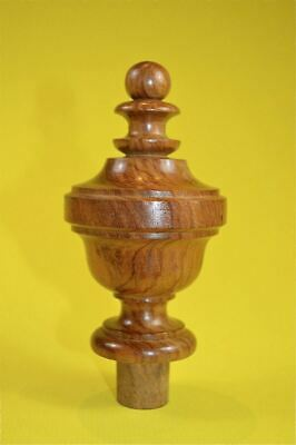 A superb 5 inch antique hardwood turned finial furniture clock mirror top F2