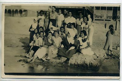 EGYPTE CARTE PHOTO ABOUKIR sept 1926 groupe bord plage Port Said  E18-2016