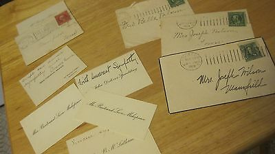 ANTIQUE 1909 CALLING CARDS LOT Wilson Family MANSFIELD MA Spaulding Makepeace