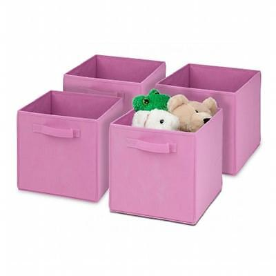 Honey-Can-Do SFTZ01762 4 Pack Non-Woven Foldable Cube Pink
