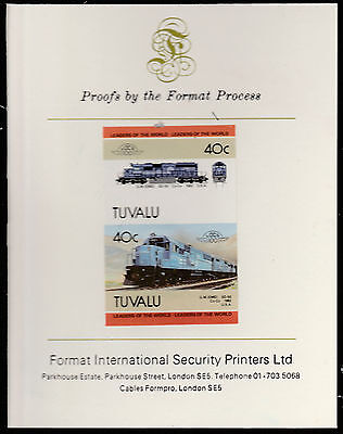 Tuvalu (1580) - 1985 RAILWAYS  imperf on Format International PROOF  CARD
