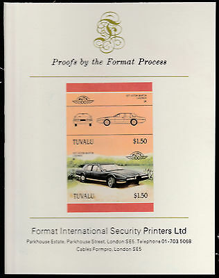 Tuvalu (1579) - ASTON MARTIN  CAR  imperf on Format International PROOF  CARD