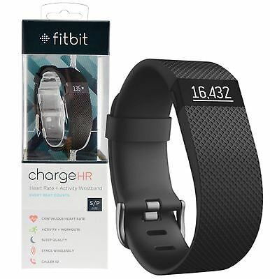 New Genuine Fitbit Charge Hr Heart Rate + Activity Tracker Black Wristband Small