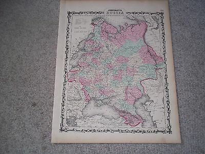 1862 Johnson Map  Russia in Europe - Moscow St. Petersburg Latvia Poland Estonia