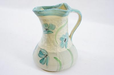 Myott, Son & Co Art Deco Hand Painted Blue Floral Jug with Pinched Lip HW294