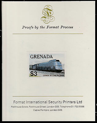 Grenada (1600) - 1982  FAMOUS TRAINS  imperf on Format International PROOF  CARD