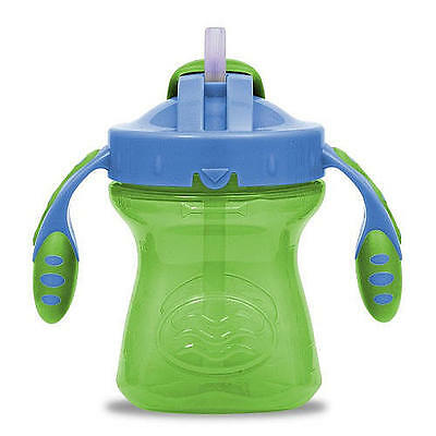 New Playtex BPA Free 6 Ounce Straw Trainer Cup - Green with Blue Lid