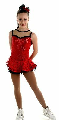 NEW COMPETITION SKATING DRESS Elite Xpression Red Black 1520 SIZE 8-10