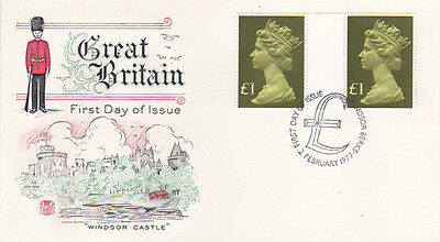 GB 1977 Machin High Value Definitive first day covers - 2 x £1