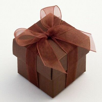 25 Luxury Silk Brown Square & Lid Wedding Favour Boxes