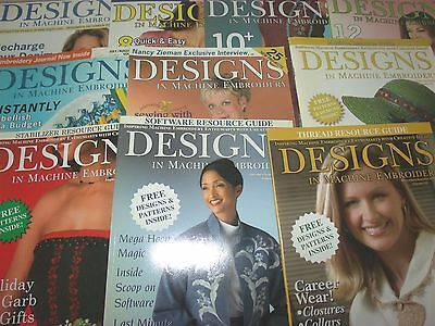 Lot of 10 Issues Designs in Machine Embroidery 2002 2006 2007