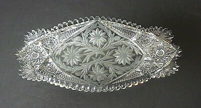 "Stunning American Brilliant Period (Abp) Cut Glass 13.75"" Ice Cream Tray"