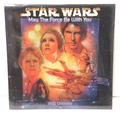 """1999  Star Wars May the Force Be with You  Wall Calendar- 12""""x12""""- SEALED"""