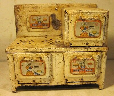 Vintage Marx Tin Pressed Steel Pretty Maid Oven Stove Toy Made In USA Kitchen