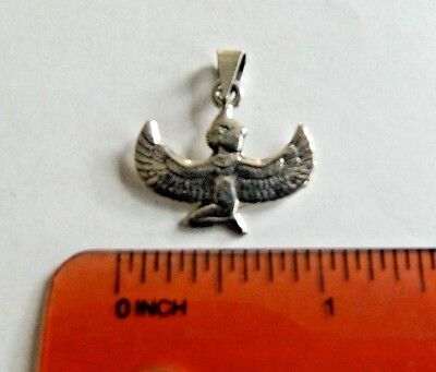 "Egyptian Sterling Silver Small Winged Goddess Isis Pendant 1"" #76"