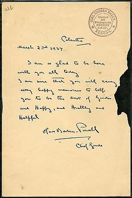 Olive Baden-Powell, Chief Guide,  Autographed Letter  March 2, 1937  Great Piece