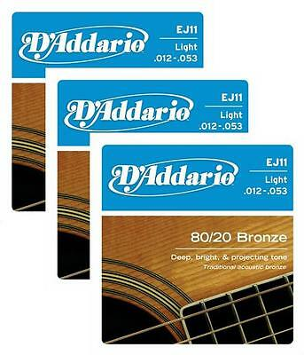 LOT OF 3 - D'Addario 80/20 Bronze Acoustic Guitar Strings, Light, 12-53, EJ11 ^3