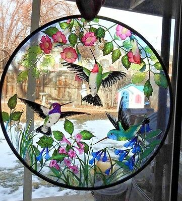 Toronto Stained Glass Suncatcher Ruby-Throated Costa Broad-billed Hummingbird