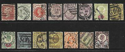Great Britain 1881/1902 Selection Of Victoria & Edward Vii (15) Used