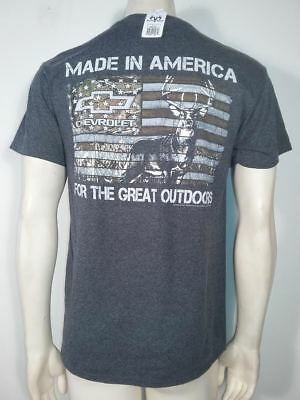 Buck Wear Chevy Made In America Deer USA Flag Stars Army Patriot Mens Shirt 2546