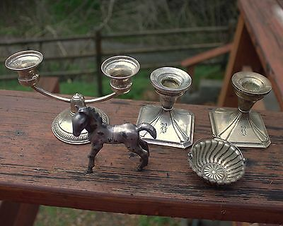 Vintage LOT Sterling Silver & Unknown Silver Candlestick Holders Horse Strainer