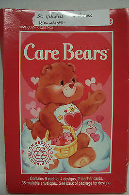 50 Valentines, CARE BEARS, 2 Combined Partial Sets in Open Box, ALL 4 Designs NM
