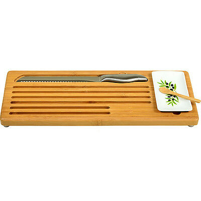 Picnic at Ascot Bamboo Bread with Bread Knife and Outdoor Accessorie NEW