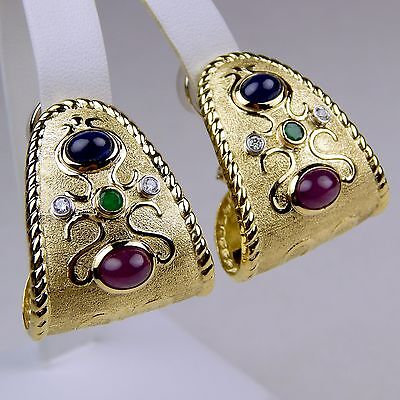 Pair of Big & Heavy Multi-Color Stone Clip On Earrings 18 kt Yellow Gold #6568