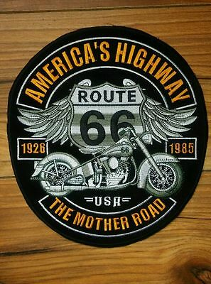 Route 66 Large Iron on/ Sew on Patch Biker Motorcycle