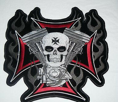 Skull V twin Large Iron on/ Sew on Patch Biker Motorcycle