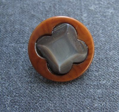 Antique Early 1900 Big Tagua Nut Vegetable Ivory & Mop Flower Button