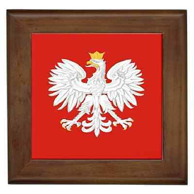 Polish Eagle Polska Poland Flag Ceramic Framed Tile - Wall Deco, Plaque, Art