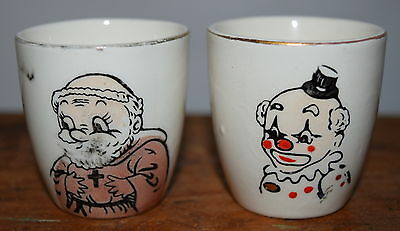 *Set of 2 * Collectable Vintage Egg Cups - CLOWN  & MONK - Made in Japan Ceramic