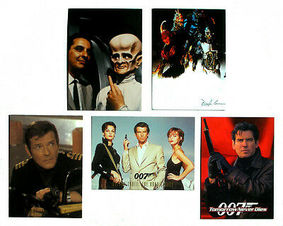 Vintage: Lot Of 5 Promo Trading Cards ~ James Bond, Outer Limits