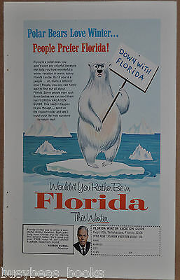 1965 FLORIDA TOURISM advertisement, Picketing Polar Bear, ice, down with Florida