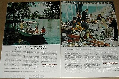1966 Florida Tourism advertisement pages x2, Fort Lauderdale, Gourmet dinner etc