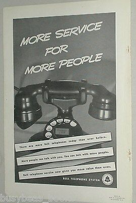 1938 BELL telephone advertisement, rotary dial desk phone, large photo