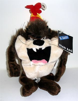 "Warner Bros.  ~ 8"" Birthday ""taz"" With Party Hat Bean Bag"