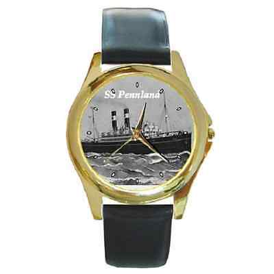Ss Pennland Red Star Line Round Gold Tone Wristwatch **great Item**