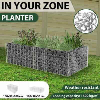 180x90x100/50cm Outdoor Garden Patio Plater Gabion Pot Rectangle Mesh Stone Wall