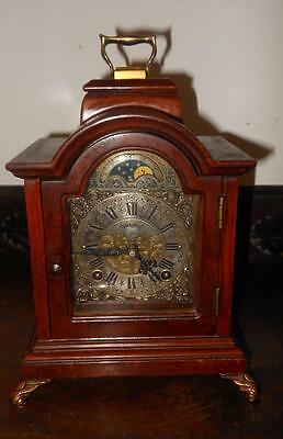 small vintage  2 bell bracket clock with mooonphase
