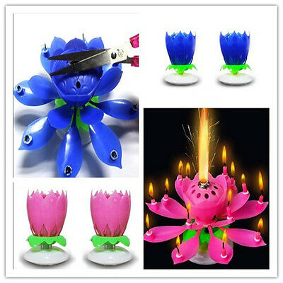 Cake Candles Musical Lotus Flower Rotating Happy Birthday Party Light Lamp Decor