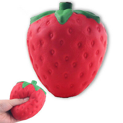 Jumbo Squishy Strawberry Cream Scented Toy Cell Phone Bag Key Pendant Charms
