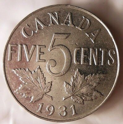 1931 CANADA 5 CENTS - Excellent Quality - FREE SHIP WORLDWIDE - HVCanada#2