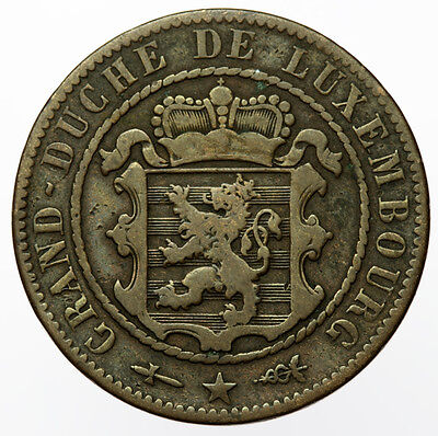 Luxembourg 10 Centimes 1854 ~ KM#23.1