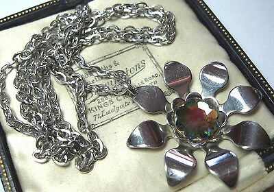 Pretty Vintage Rainbow Crystal AB Modernist Pendant Chain Jewellery NECKLACE
