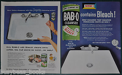 1955 BAB-O Cleanser advertisement x2, Kitchen cleaner with bleach large size ads