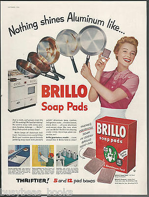 1955 BRILLO soap pad advertisement happy housewife scrubbing pans large size ad